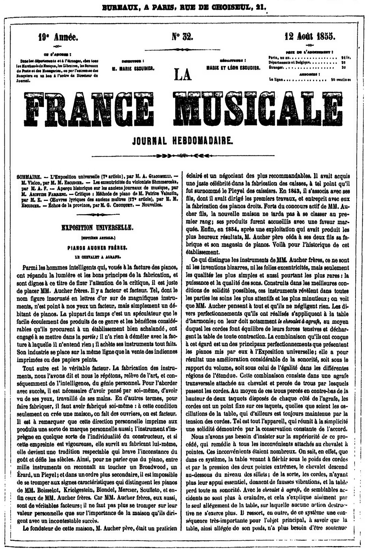 France Musicale 12 Août 1855